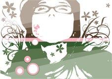Vector floral de la cara de la manera Imágenes de archivo libres de regalías