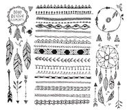 Vector floral decor set, collection of hand drawn doodle boho style dividers, borders, arrows design elements, dream. Catchers. . May be used for wedding Royalty Free Stock Photography