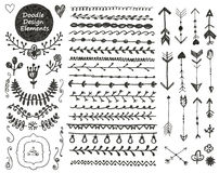 Vector floral decor set, collection of hand drawn Royalty Free Stock Photo