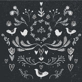 Vector floral decor set of hand drawn doodle dividers, borders, birds and flowers. Stock Photos