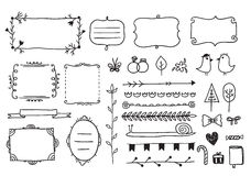 Vector floral decor set of hand drawn doodle. Frames, dividers, borders, elements. Isolated Royalty Free Stock Image