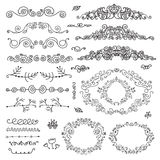 Vector floral decor set of hand drawn vintage Royalty Free Stock Image