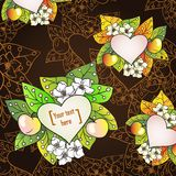 Vector floral decorative background with apples. stock illustration