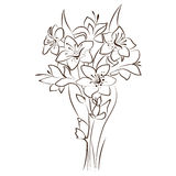 Vector floral design. Ornamental flowers bouquet stock illustration