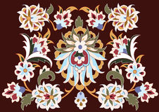 Vector. Floral design on brown Stock Photography