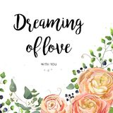 Vector floral design card: garden pink peach rose Ranunculus flo. Wer seeded Eucalyptus tree branch, green forest fern leaves, berry border frame. Wedding vector Stock Images
