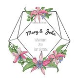 Vector floral design card. Natural botanical Greeting wedding invitation, invite template. Frame border with copy space.  Royalty Free Stock Image