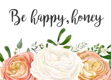 Vector floral design card. Peach pink white garden Rose Ranunculus flowers, eucalyptus seeded branch, mistletoe leaves, berry. Bouquet. Greeting postcard vector illustration