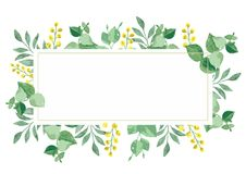 Vector floral design card in watercolor royalty free illustration