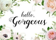 Vector floral design horizontal card design. Rose Anemone Ranunc Royalty Free Stock Photos