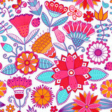 Vector floral doodle floral texture. Copy that square to the sid Royalty Free Stock Photo