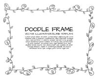 Vector Floral Doodle Hand Drawn Cute Frame, Black Outline Border Isolated. royalty free illustration