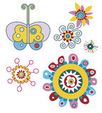 Vector Floral Elements. Colorful vector flowers and butterfly Stock Photos
