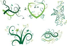 Vector floral elements set Royalty Free Stock Images