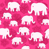 Vector floral and elephants seamless wallpaper background patter Royalty Free Stock Photo