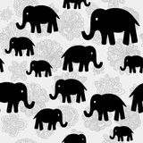 Vector floral and elephants seamless wallpaper background pattern design Royalty Free Stock Image