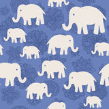 Vector floral and elephants seamless wallpaper background pattern design Royalty Free Stock Photo