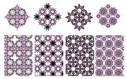 Vector floral ethnic decorative background and geometric pattern Stock Photo