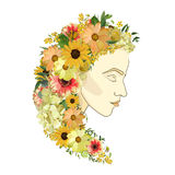 Vector floral female portrait of young beautiful woman  Royalty Free Stock Photo
