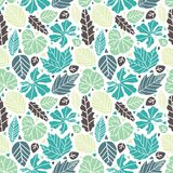 Vector floral foliage leaves seamless pattern isolated in white background. Printing textile fabric graphic design Stock Photos