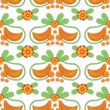 Floral Folk Vector Seamless Pattern with Birds vector illustration