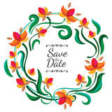 Vector floral frame with abstract colorful flowers. Wedding, bir vector illustration