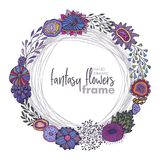 Vector floral frame with bouquets of hand drawn fantasy flowers. Plants and branches. Beautiful template for invitations, greeting cards Stock Images