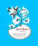 Vector floral frame in Chinese style. Vector frame with fantastic exotic flowers in Chinese style. Luxury ornament. Bright blue floral illustration. Ornate Stock Photos