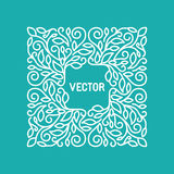 Vector floral frame with copy space. For text in trendy mono line style - monogram design element royalty free illustration