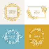 Vector floral frame with copy space for text Stock Images