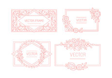 Vector floral frame with copy space for text in trendy mono line Royalty Free Stock Image