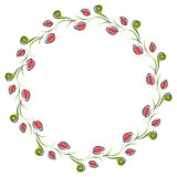 Vector floral frame. Cute border in the shape of circle with decorative roses Stock Photos