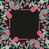 Vector floral frame for design. Vector frame with stylized flowers for design Stock Images