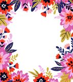 Vector floral frame in doodle style with flowers and leaves. Gentle, summer floral background for greeting cards, wedding cards. Vector floral frame in doodle royalty free illustration
