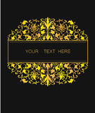 Vector floral frame in Eastern style. Ornate element for design. Place for text. Golden line art ornament for wedding invitations Royalty Free Stock Image
