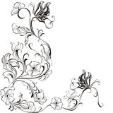 Vector Floral frame from flowers and butterflies Stock Images