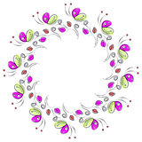 Vector floral frame with insects. Cute drawn border in the shape of circle with decorative roses and butterflies. Stock Photos