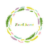 Vector floral frame with leaves Stock Images