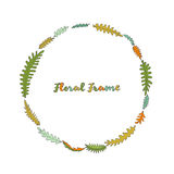 Vector floral frame with leaves Royalty Free Stock Image