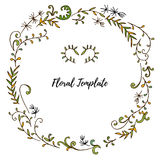 Vector floral frame with leaves  and plants Royalty Free Stock Photography
