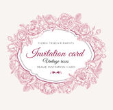 Vector floral frame with roses in vintage style. Invitation card Royalty Free Stock Photos