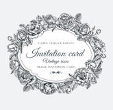 Vector floral frame with roses in vintage style. Invitation card with hand drawn flowers Stock Images