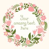 Vector floral frame. With space for text, vector eps10 illustration Stock Photography