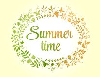 Vector floral frame summer time Stock Photo