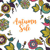 Vector floral frame with text Autumn Sale. Royalty Free Stock Photography