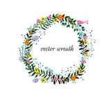 Vector floral frame on a white background. Colored illustration, hand drawn elements,  on white background Royalty Free Stock Images