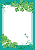 Vector floral frame with white center. Vector green floral frame with white center Stock Photography