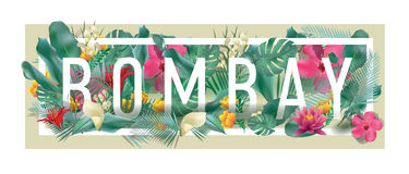 Vector floral framed typographic BOMBAY city artwork Stock Image