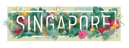 Vector floral framed typographic SINGAPORE city artwork stock image