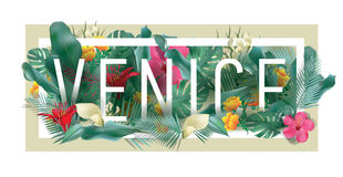 Vector floral framed typographic VENICE city artwork royalty free stock images